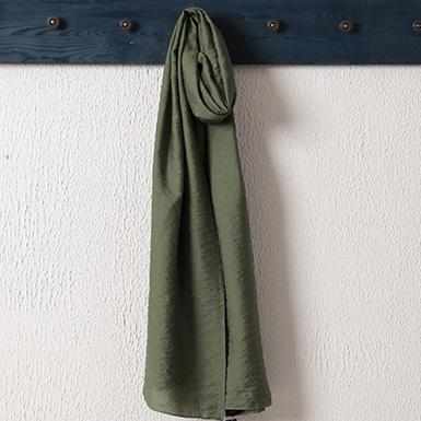 ipekistanbul - %15 İpek Karışımlı Düz Renk Şal - Haki Yeşili