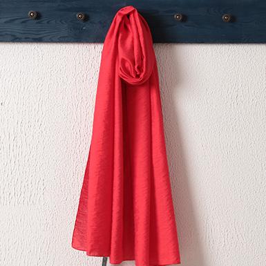 ipekistanbul - %15 İpek Karışımlı Düz Renk Şal - Kırmızı