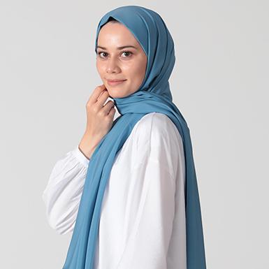 ipekistanbul - %30 İpekli Düz Renk Pamuk Şal - Gök Mavi