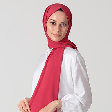 ipekistanbul - %30 İpekli Düz Renk Pamuk Şal - Kırmızı