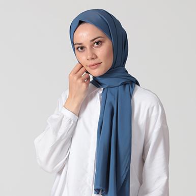 ipekistanbul - %30 İpekli Düz Renk Pamuk Şal - Mavi