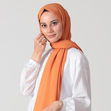 ipekistanbul - %30 İpekli Düz Renk Pamuk Şal - Oranj