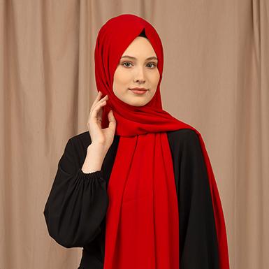 ipekistanbul - Alfa Krep Şal - Kırmızı