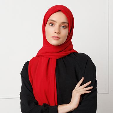 ipekistanbul - Caz Şal Eşarp 110 x 110 cm - Kırmızı