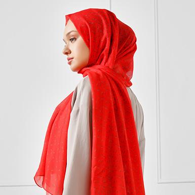 ipekistanbul - Çıtır Desen Pamuklu Şal - Kırmızı