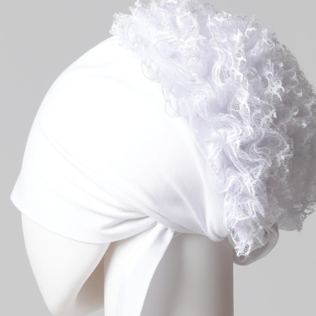 Dantel Topuzlu Dikişsiz Bone - Kaliteli Özel Üretim - Beyaz