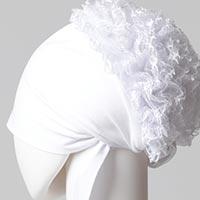 Dantel Topuzlu Dikişsiz Bone - Kaliteli Özel Üretim - Beyaz - Thumbnail