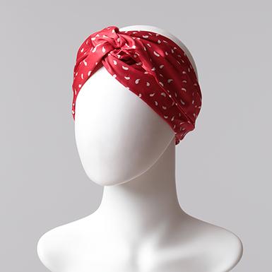 ipekistanbul - Desenli Saç Bandı - Kırmızı Ekru
