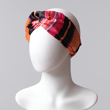 ipekistanbul - Desenli Saç Bandı - Siyah Fuşya