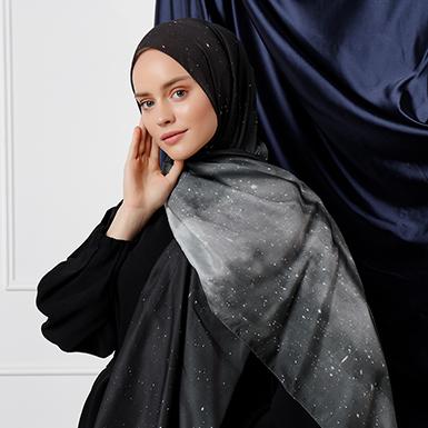 ipekistanbul - Galaxy Desenli Şal - Siyah