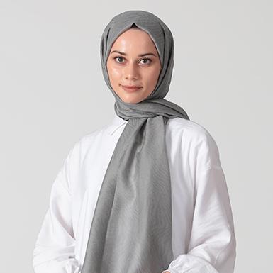 ipekistanbul - İpek Karışımlı Zebra Desen Şal - Gümüş