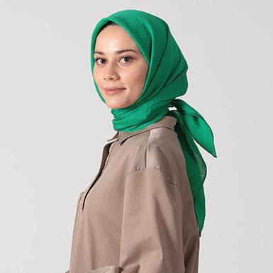 ipekistanbul - İpekli Günlük 100x100 cm Eşarp - Benetton Yeşil