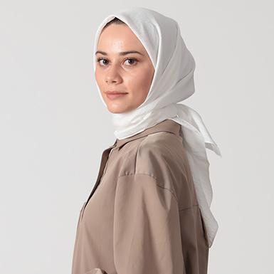 ipekistanbul - İpekli Günlük 100x100 cm Eşarp - İnci Beyazı