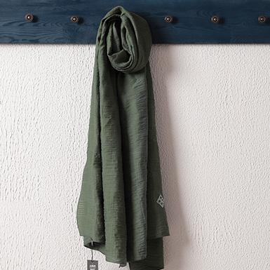 ipekistanbul - İpekli Jakar Şal - Çizgi Desen - Çam Yeşili