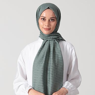 ipekistanbul - Kare Desenli Yok Şal - Mint Yeşili