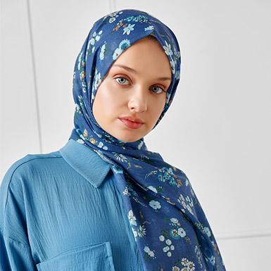 ipekistanbul - Kır Çiçekleri Desen Pamuklu Şal - Mavi