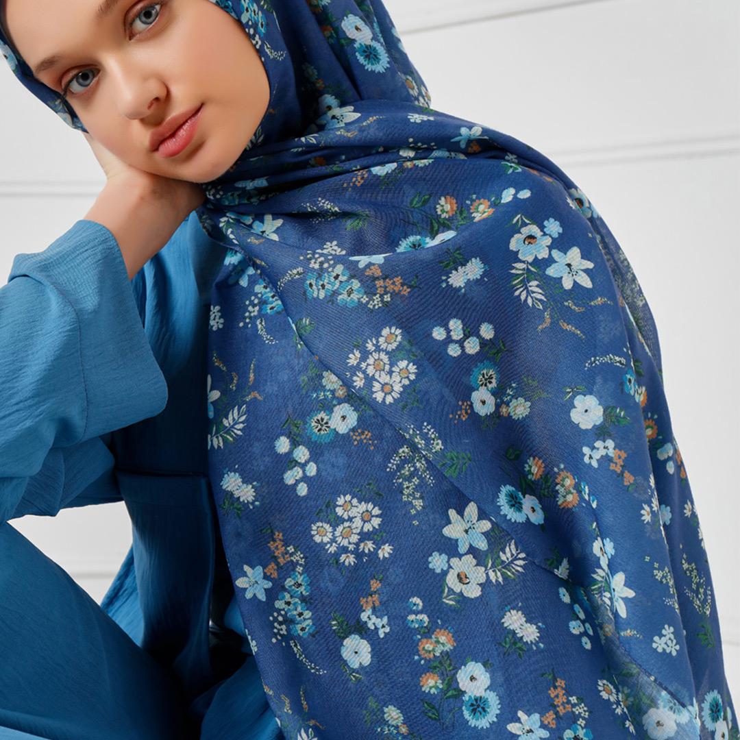 Kır Çiçekleri Desen Pamuklu Şal - Mavi