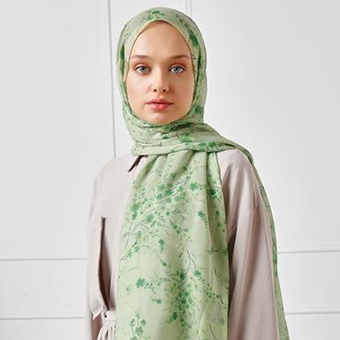 ipekistanbul - Kiraz Çiçeği Desen Pamuklu Şal - Yeşil