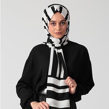 ipekistanbul - Monokrom Desenli Medine İpeği Şal - Beyaz
