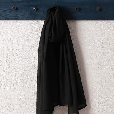 ipekistanbul - Spor Dikişli Taşlanmış Pamuk Şal - Siyah