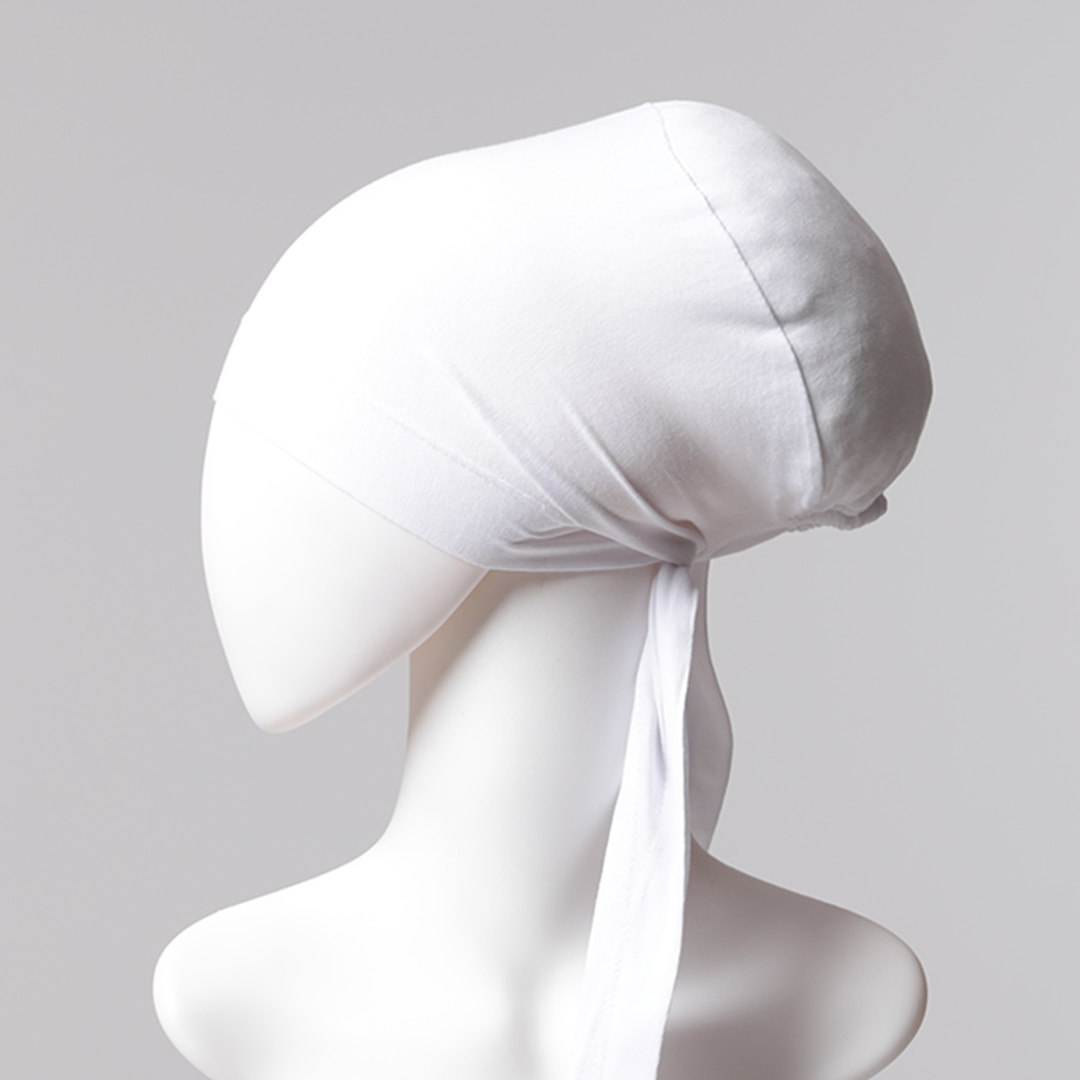 Sünger Topuzlu Bone - Özel Üretim - Beyaz