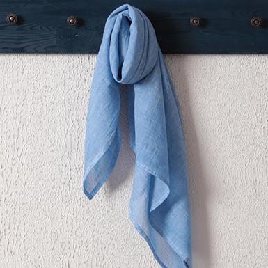 ipekistanbul - Taşlanmış Pamuk Spor Dikişli Eşarp - Mavi
