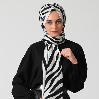 ipekistanbul - Zebra Desenli Medine İpeği Şal - Beyaz